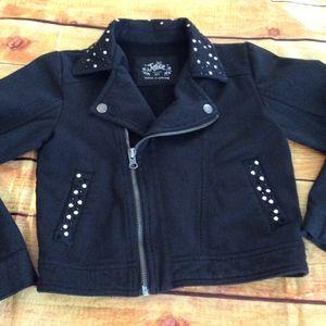 Justice Black Moto Boomer Jacket Sz 6/7 #226